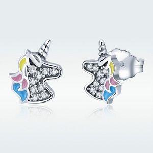Jewelry - NEW Unicorn 925 Sterling Silver Stud Earrings Girl